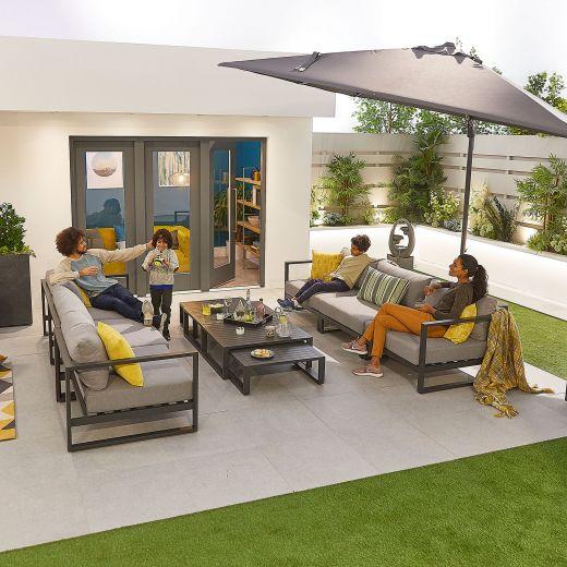 Alessandria Aluminium 2 x 3 Seat Sofa Set - Grey Frame