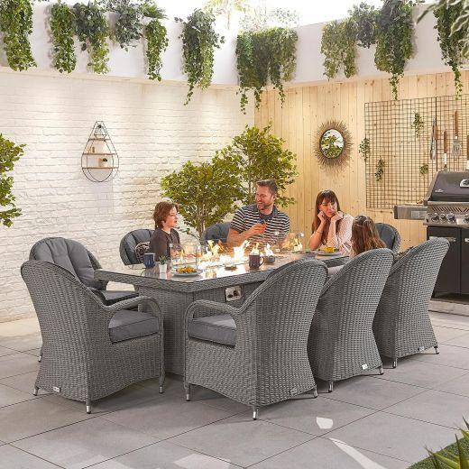 Leeanna 8 Seat Dining Set - 2m x 1m Rectangular Firepit Table - Slate Grey
