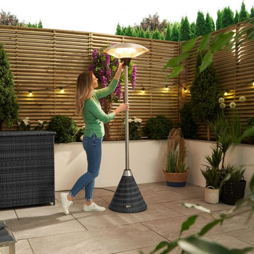 Nova - 2.1kW Free Standing Electric Patio Heater with Rattan Base - Grey