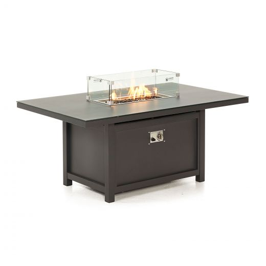 Vogue Aluminium 150cm x 90cm Rectangular Firepit Table - Grey Frame