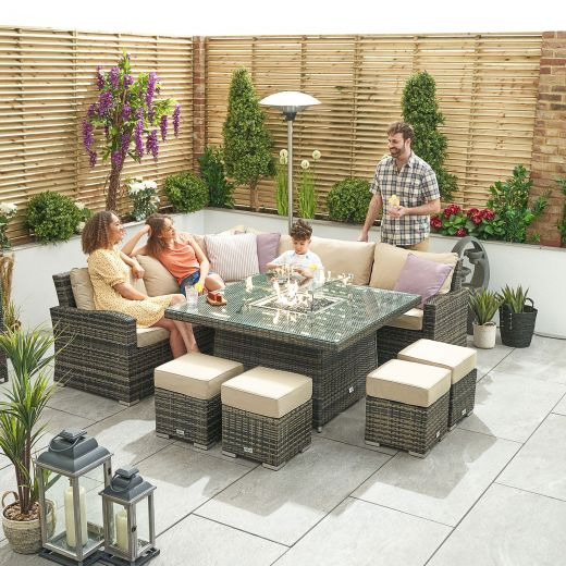 Deluxe Cambridge Casual Dining Corner Sofa Set with Firepit Table - Brown