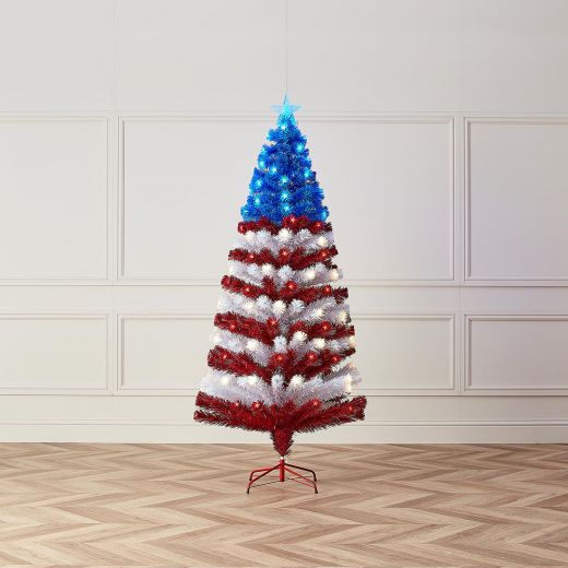 4ft Fibre Optic Stars & Stripes Artificial Christmas Tree