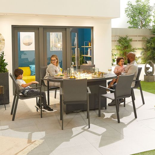 Roma 6 Seat Dining Set - 1.6m x 1m Oval Firepit Table - Grey Frame
