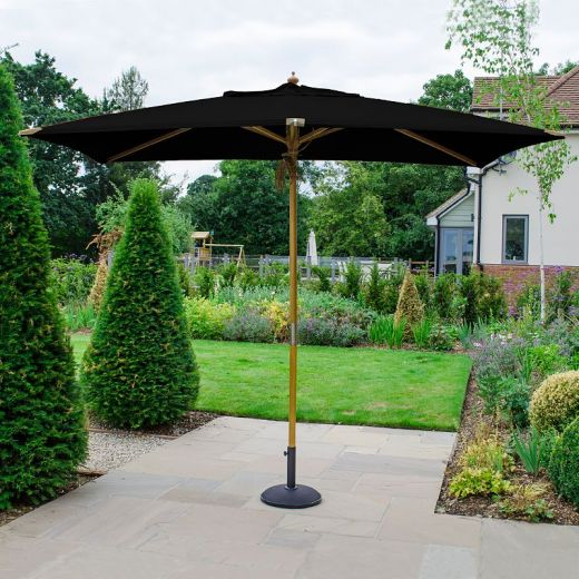 Dominica Deluxe 3m x 2m Rectangular Wooden Parasol - Double Pulley Operated - Black
