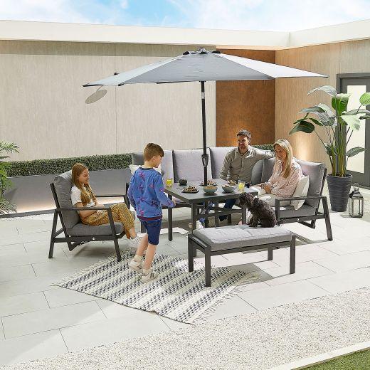 Compact Enna Aluminium Reclining Casual Dining Corner Sofa Set with Parasol Hole & Armchair & Bench - Grey Frame