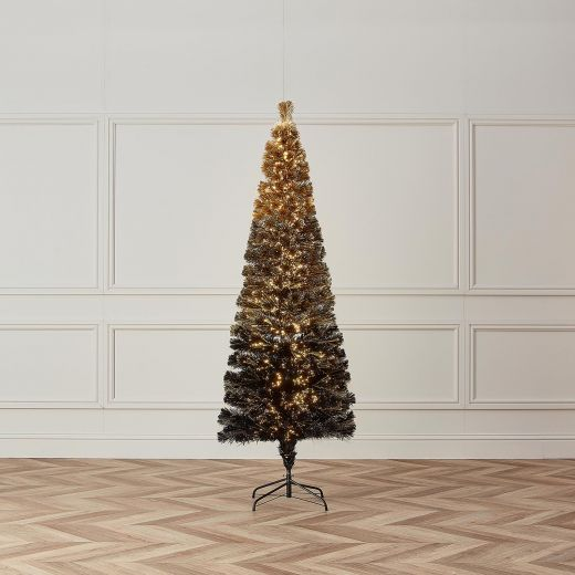 4ft Fibre Optic Eclipse Black & Gold Artificial Christmas Tree