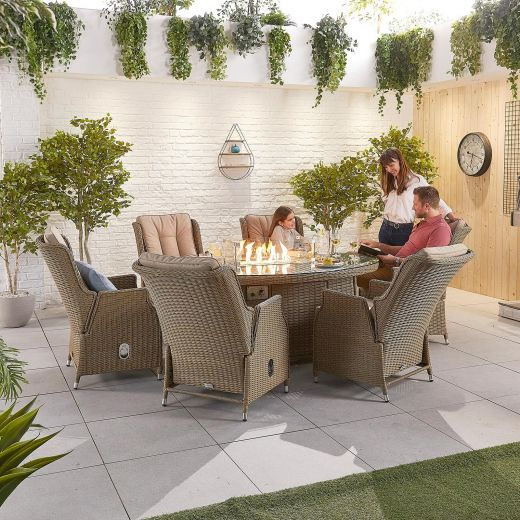 Carolina 6 Seat Dining Set - 1.8m x 1.2m Oval Firepit Table - Willow