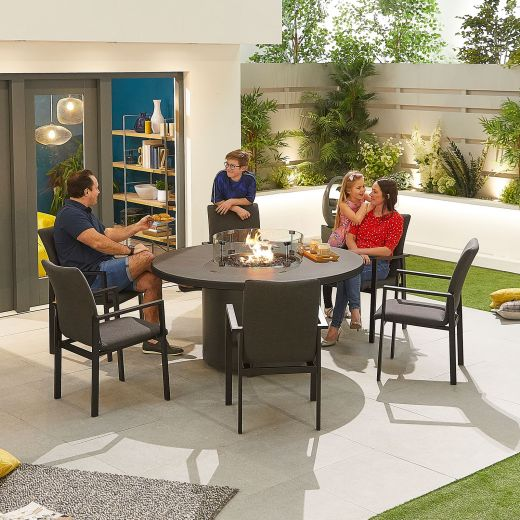 Hugo Outdoor Fabric 6 Seat Round Dining Set with Firepit - Dark Grey