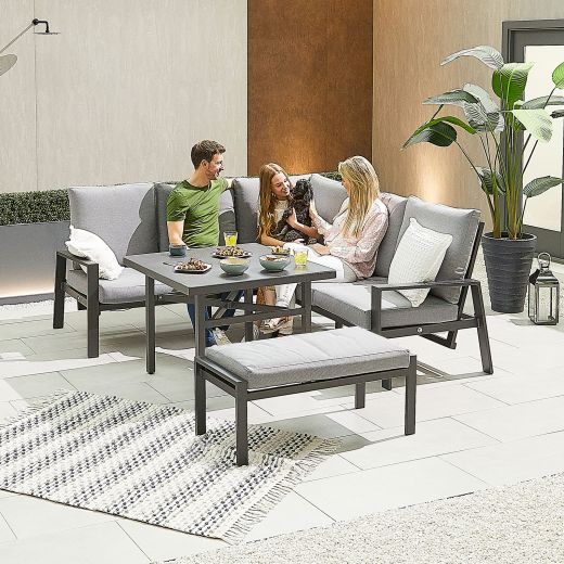Compact Enna Aluminium Reclining Casual Dining Corner Sofa Set with Parasol Hole & Bench - Grey Frame
