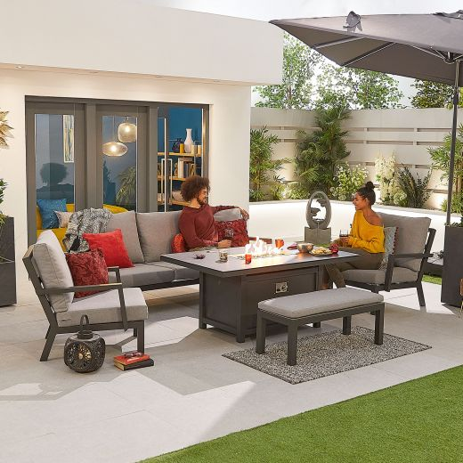 Vogue Aluminium Casual Dining 3 Seater Sofa Set with Firepit Table & Bench - Grey Frame