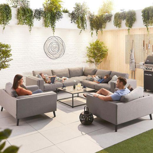 Infinity Outdoor Fabric Corner Sofa Set with 2 Armchairs - Light Grey