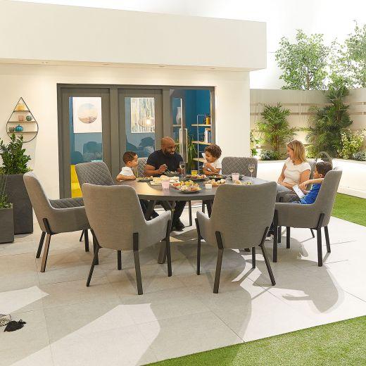 Genoa Outdoor Fabric 8 Seat Round Dining Set - Light Grey