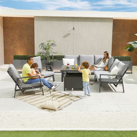 Compact Enna Aluminium Reclining Casual Dining Corner Sofa Set with Rising Table & Armchairs - Grey Frame