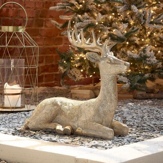 Sachie the 57cm Gold Sitting Christmas Reindeer
