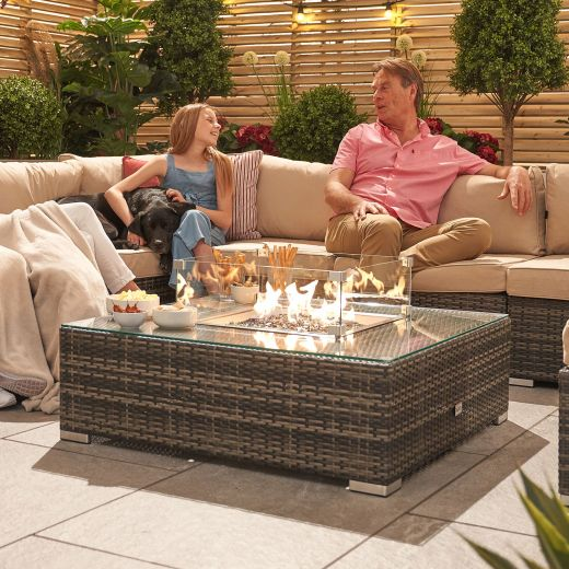 Chelsea Square Coffee Table with Firepit - Brown