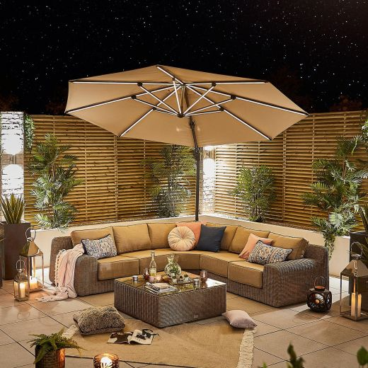 Galaxy 3.5m Round Cantilever Parasol with LED Lights - Beige