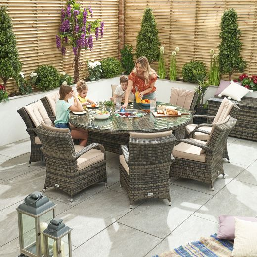 Olivia 8 Seat Rattan Dining Set with Ice Bucket - 1.8m Round Table - Brown