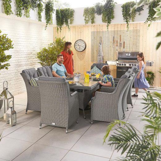 Thalia 8 Seat Dining Set - 2m x 1m Rectangular Table - Slate Grey