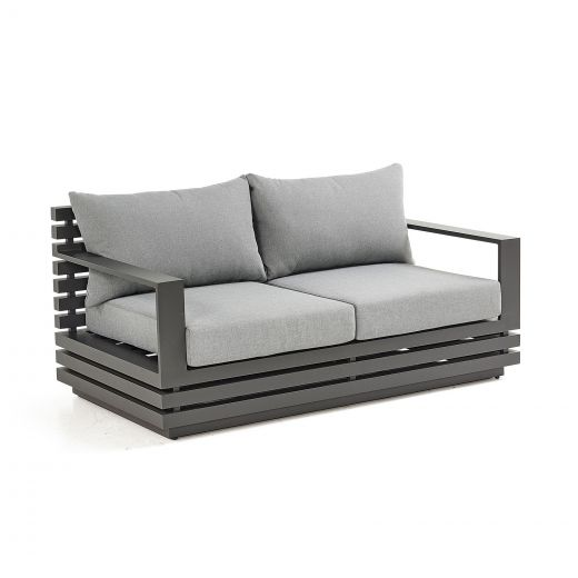 San Marino Aluminium 2 Seat Sofa - Grey Frame