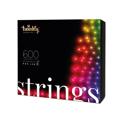 Twinkly 600 Colour Changing LED Smart App Controlled Christmas String Lights (48m Lit Length)