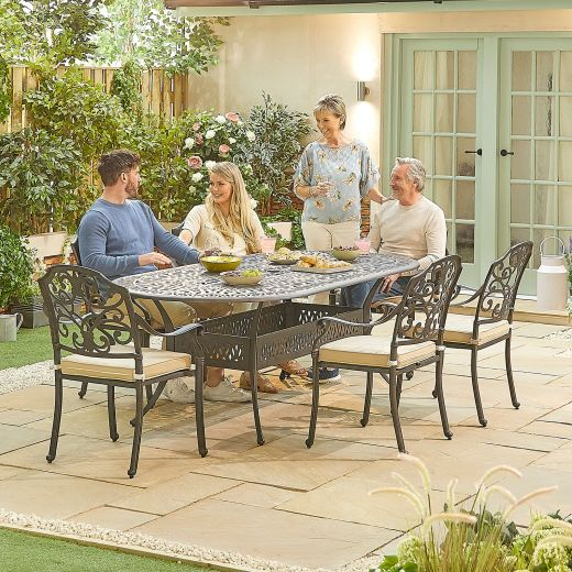 Cotswold 6 Seat Oval Dining Set - 2.2m x 1.07m Oval Table