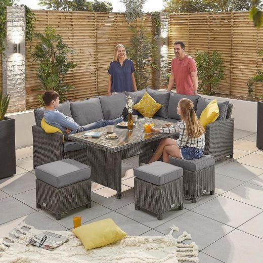 Ciara Right Hand Casual Dining Corner Sofa Set - Slate Grey