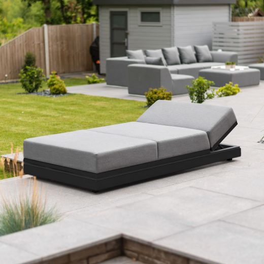 Sense Outdoor Fabric Sun Lounger - Light Grey