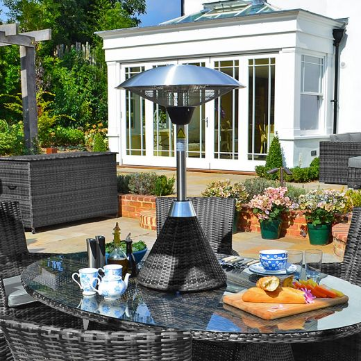 Nova - 2.1kW Table Top Electric Patio Heater with Rattan Base - Grey