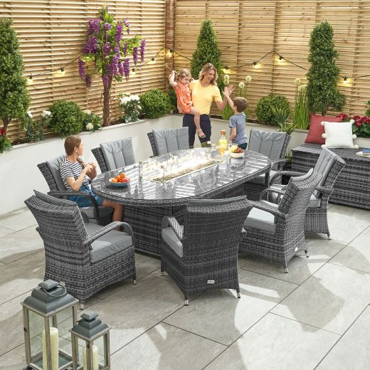 Olivia 8 Seat Dining Set - 2m x 1.2m Oval Firepit Table - Grey