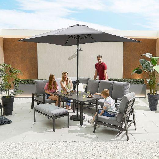 Enna Left Hand Aluminium Reclining Casual Dining Corner Sofa Set with Parasol Hole & Armchair & Bench - Grey Frame