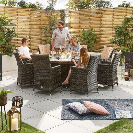 Sienna 8 Seat Dining Set - 1.8m Round Firepit Table - Brown