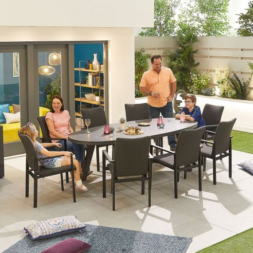 Hugo Outdoor Fabric 8 Seat Oval Dining Set - Dark Grey