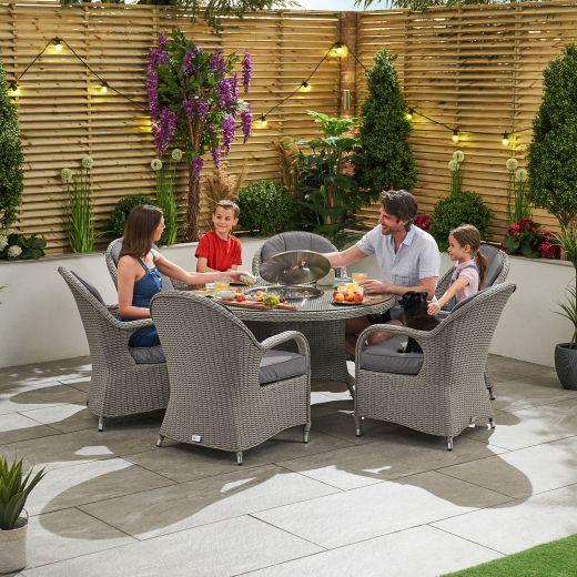 Leeanna 6 Seat Dining Set - 1.35m Round Ice Bucket Table - White Wash