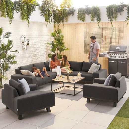 Tranquility Outdoor Fabric Corner Sofa Set with 2 Armchairs - Dark Grey
