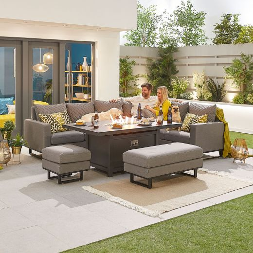 Eclipse Outdoor Fabric Casual Dining Set with Stools and Firepit Table - Light Grey