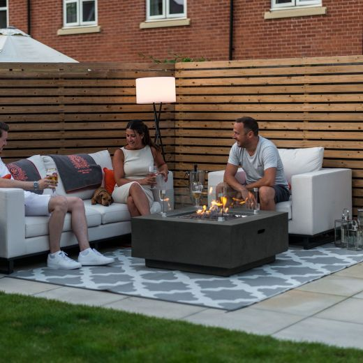 Fireglow Albany Square Gas Firepit Coffee Table with Wind Guard - Dark Grey