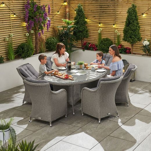 Camilla 6 Seat Dining Set - 1.8m x 1.2m Oval Ice Bucket Table - White Wash