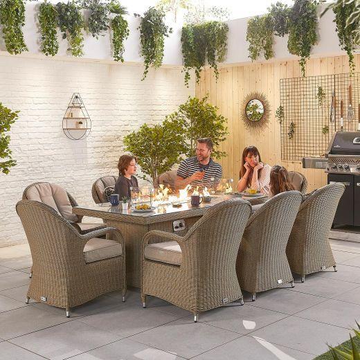 Leeanna 8 Seat Dining Set - 2m x 1m Rectangular Firepit Table - Willow
