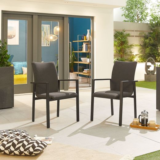 Pack of 4 Hugo Outdoor Fabric Dining Chairs - Dark Grey