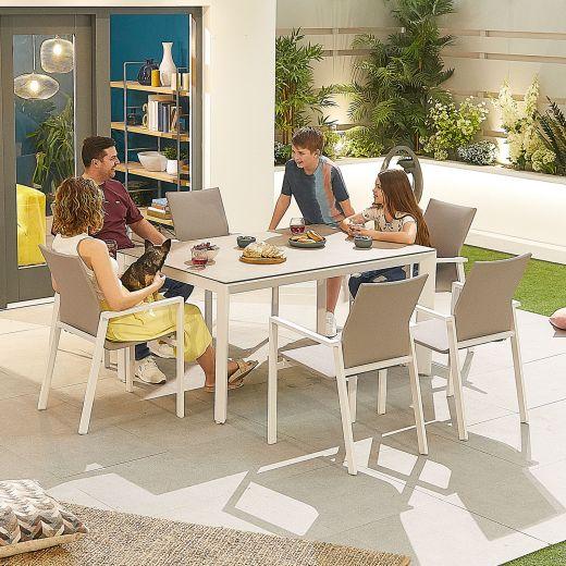 Roma 6 Seat Dining Set - 1.5m x 1m Rectangular Table - White Frame