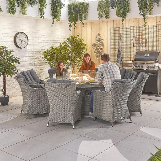 Camilla 8 Seat Dining Set - 1.8m Round Firepit Table - White Wash