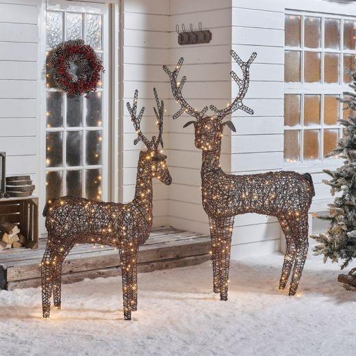 The Ralph Family - 150cm & 180cm Brown Rattan Christmas Reindeer