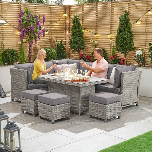 Ciara Left Hand Reclining Casual Dining Corner Sofa Set with Firepit Table - White Wash