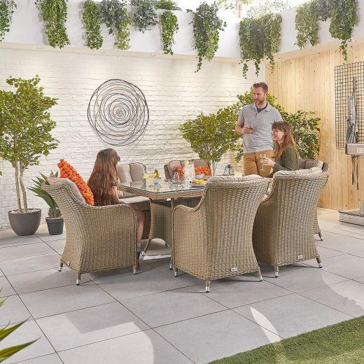 Camilla 6 Seat Dining Set - 1.5m x 1m Rectangular Table - Willow