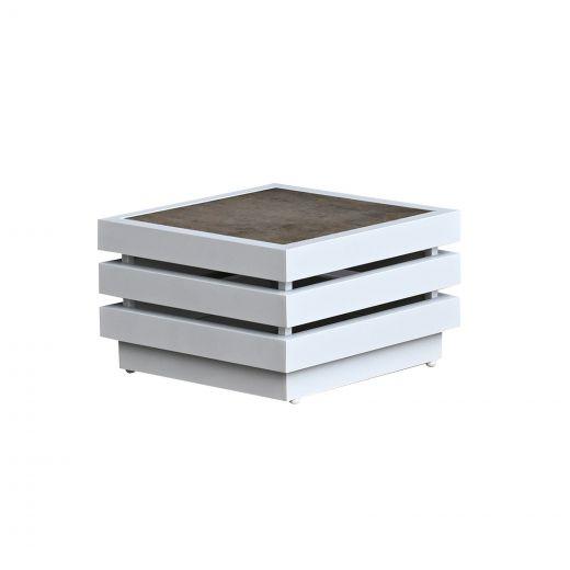 San Marino Aluminium Side Table - White Frame