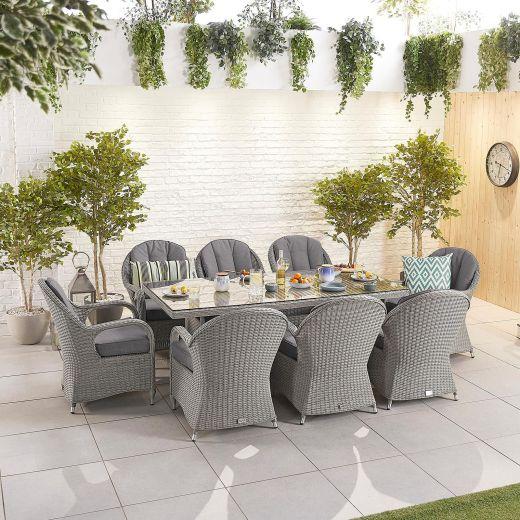 Leeanna 8 Seat Dining Set - 2m x 1m Rectangular Table - White Wash