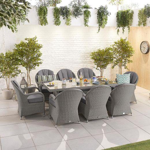 Leeanna 8 Seat Dining Set - 2m x 1m Rectangular Table - Slate Grey