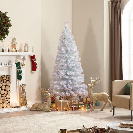 7ft Fibre Optic White & Pink Artificial Christmas Tree