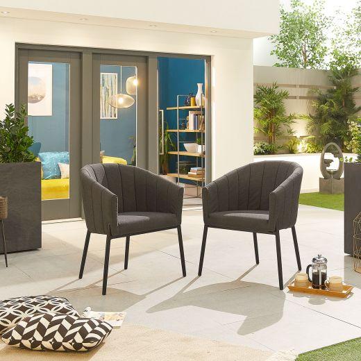 Pair of Edge Outdoor Fabric Dining Chairs - Dark Grey