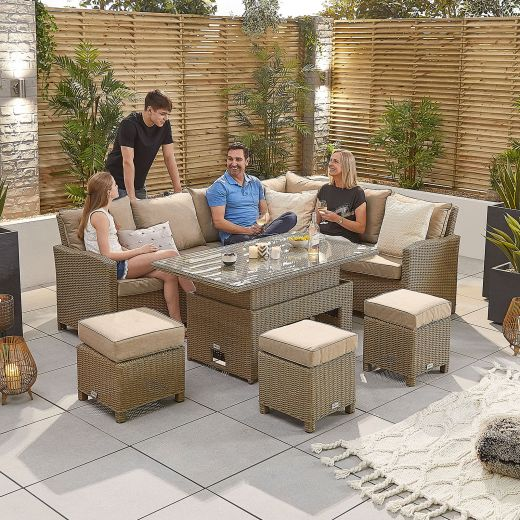 Ciara Right Hand Casual Dining Corner Sofa Set with Rising Table & Parasol Hole - Willow